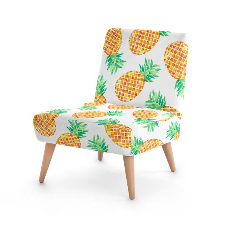 Pineapples! Occasional Chair Pineapple design chair. Watercolor pineappple #art #pineapple #design #tropical #furniture #design #fashion #home #hometrends