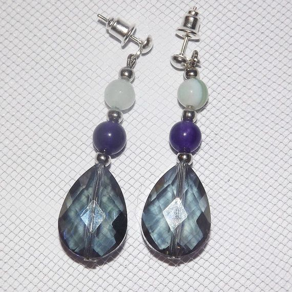Agate & Amethyst Drop Earrings   Free UK Post  by KasumiCrafts