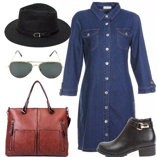 Abito chemisier in denim blu con taschini sul petto, stivaletto con punta tonda con fibbia laterale, borsa con tasche manico e tracolla, cappello con tesa media, occhiali da sole modello aviatore.