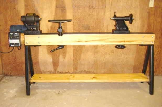 """Conover Wood Lathe Bed and Stand by Steve Bedair -- Homemade lathe bed and stand for a 16"""" Conover wood lathe. Bed was fashioned from pine and features angle iron bed ways. Legs were constructed from square steel. Powered by a 1.5 HP variable speed DC motor. http://www.homemadetools.net/homemade-conover-wood-lathe-bed-and-stand"""