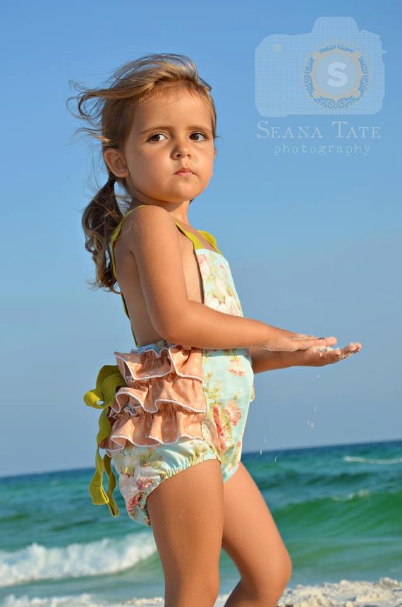 Light blue floral vintage stripe ruffle suit with by TheMeasure, $42.00