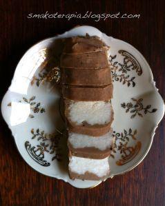 Ten przepis powinien się tu znaleźć o zdecydowanie innej porze roku.Ale ile można czekać??;-))W czasach osobistej nikłej świadomości dotyczącej słodyczy sklepowych, batoniki kokosowe w czekoladzie były moimi ulubionymi.Czas na własny domowy przepis.:)Składniki:wiórka kokosowe ok 130g (najlepiej eko)mleko kokosowe 2 łyżki ( w puszce, bez dodatków, eko)olej kokosowy 5 łyżek ( dobrej jakości, eko) lub inny…