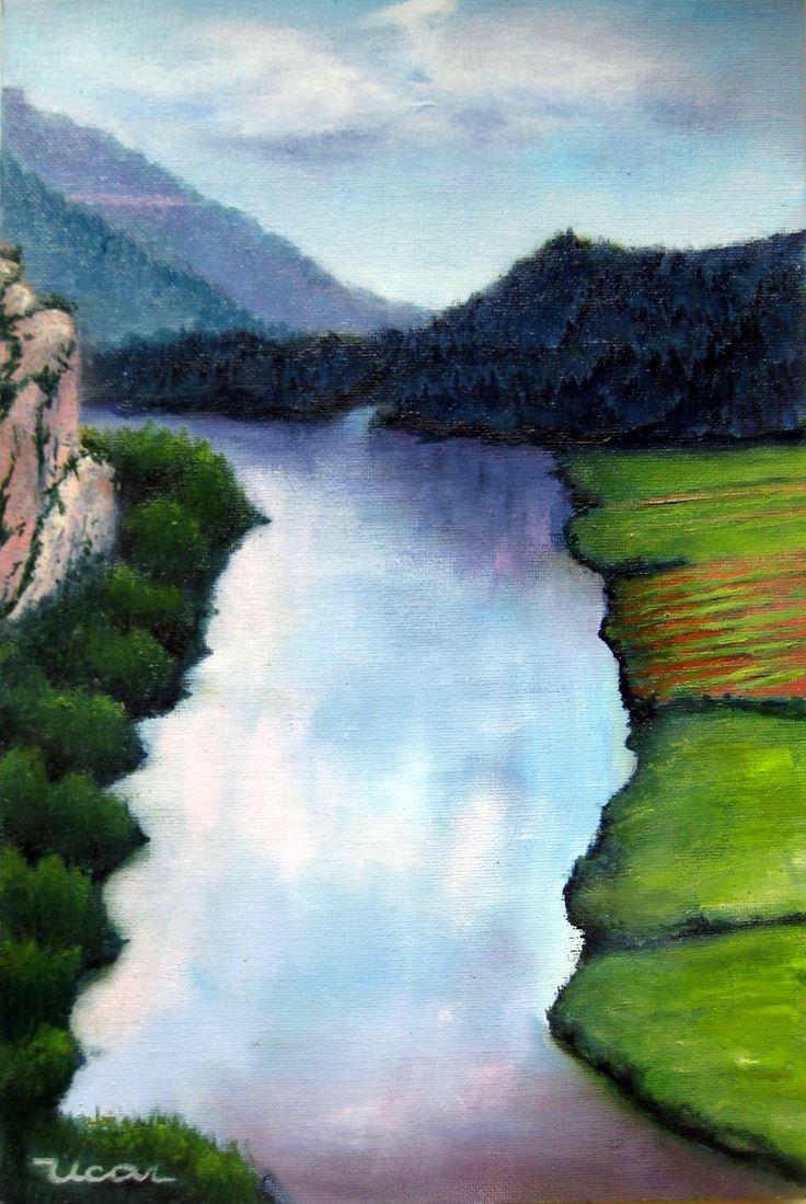 Una ficción del río Ebro en su discurrir hacia el mar. Óleo sobre tabla entelada de 33 x 22 de Javier Úcar