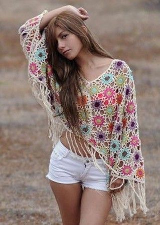 Poncho   @ http://crochet-plaisir.over-blog.com  A lot of pretty projects with graphoc patterns