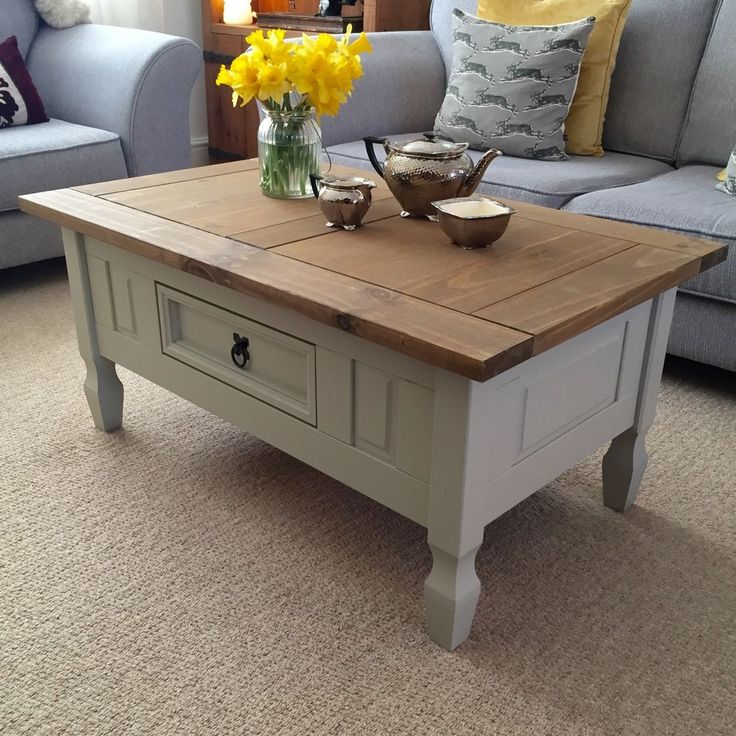 20 Shabby Chic Coffee Table with Drawers - Home Office Desk Furniture Check more at http://www.buzzfolders.com/shabby-chic-coffee-table-with-drawers/