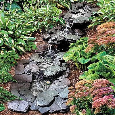 Faux Stone Outdoor Rocky Garden Pond Fountain Water Feautre Kit New Gardens Faux Stone And