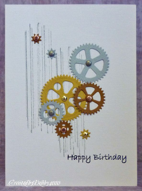 These die-cut cogs have been cut in the colors of gold, silver and bronze metals for a great masculine handmade birthday card. How fun to create a great steampunk card!
