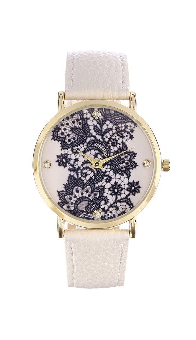 Geneva Platinum Ivory Bracelet Watch
