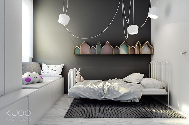 Habitación infantil blanca y gris. Delicadamente femenina. De Kuoo Architects