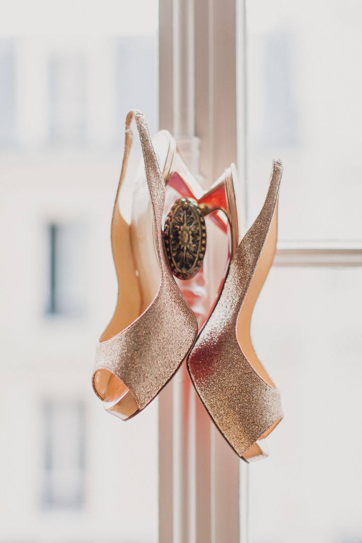 glittering gold #shoes for this Destination Wedding in Paris from Mademoiselle Fiona  Read more - http://www.stylemepretty.com/2013/11/07/destination-wedding-in-paris-from-mademoiselle-fiona/