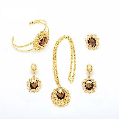 Jewellery set #earrings necklace bracelet ring18k gp dubai gold #wedding #islam, View more on the LINK: http://www.zeppy.io/product/gb/2/281726422022/