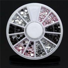 #Banggood 4 размеры акриловый ноготь искусства украшения наконечник колесные черный белый розовый блеск стразов (1013919) #SuperDeals