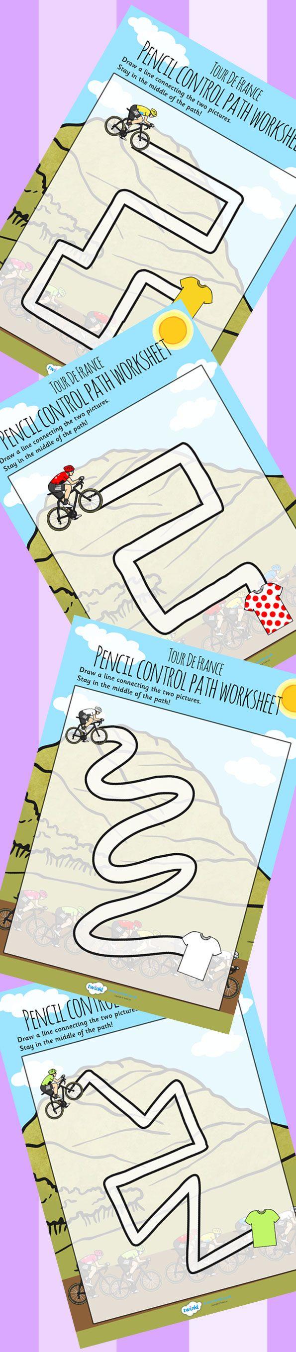 Tour de France Themed Pencil Control Path Worksheets