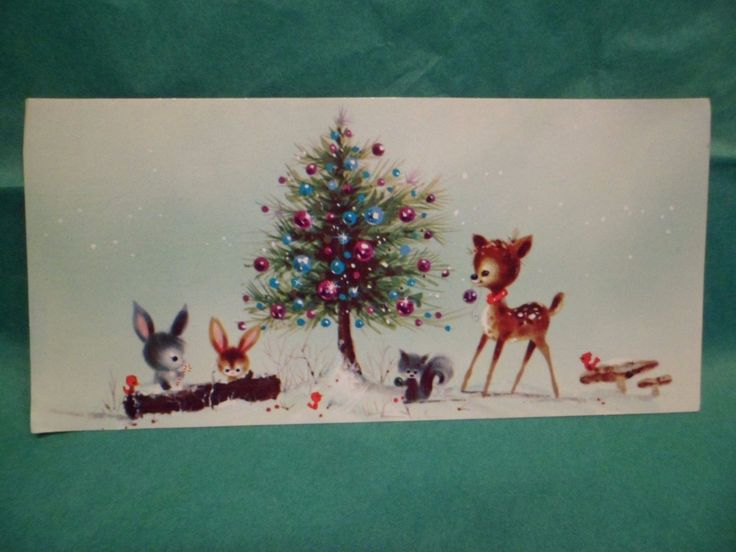 """Vintage Christmas Greeting Card FRONT Woodland Animals Decorate Tree Deer Rabbit FOR SALE • $3.99 • See Photos!  This vintage Christmas greeting card FRONT ONLY is used. 3-3/4 x 8"""". Payment is required within 3 days of winning auction unless other arrangements have been made in advance. If 282733027538"""