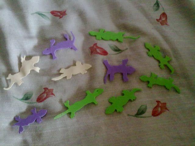 Saquitos ritualizados de lagartijas / salamandras // Lagartijas. Salamandras. Goma Eva
