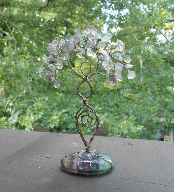 Rainbow Fluorite Twisted Wire Tree Goddess Statue Pagan Wiccan Ritual New Age
