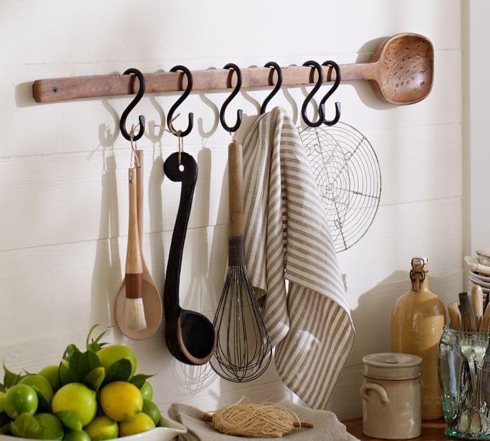 Pottery Barn Rustic Wooden Wall Spoon Hook Rack #PotteryBarn