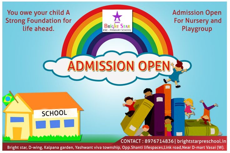 Hurry up before it's too late!  Grab the admission for your kids as soon as possible! #AdmissionOpen for Playgroup , Nursery, Jr. Kg. & Sr. Kg.  #BrightStar Pre-Primary School Admission starts for Nursery and Playgroup childrens. #learning #preschoolers #teachers #activities #education #kidsactivities #school #earlylearning #admissionopen #nalasopara #preschoolatnalasopara #admissionatnalasopara For admission please contact : 8976714836