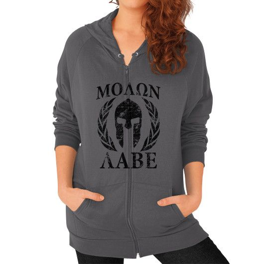 Molon Labe Spartan Trojan Helmet Laurels Zip Hoodie (on woman)