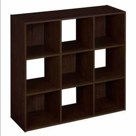 ClosetMaid 9 Espresso Laminate Storage Cubes (Note: For loft closet - small wall under sloping ceiling area.)