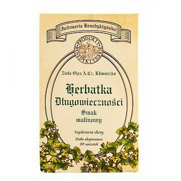 Suplement diety herbata długowieczności - Produkty Benedyktyńskie    Herbata długowieczności to suplement diety o unikalnej kompozycji ziół. Aromaty malinowy i z czarnej porzeczki sprawiają, że herbatka długowieczności nabiera głęb...