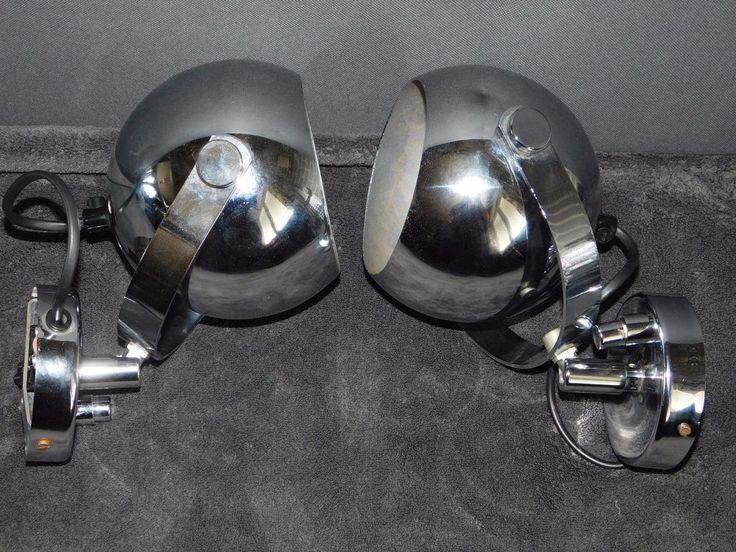 2 SPOTS BOULES ORIENTABLES A BOUTON POUSSOIR DESIGN VINTAGE METAL CHROME   LOFT