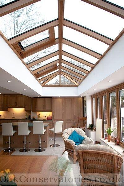 An orangery created to extend kitchen & living area as one, designed & built by Richmond Oak www.oakconservatories.co.uk