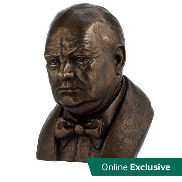 This impressive bust of Sir Winston Churchill is based on a design by the late English sculptor Joseph Williams.   Cast in England from bronze resin. 28cm tall.
