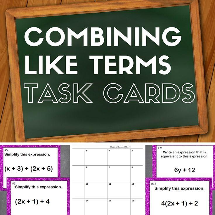 combining like terms quiz pdf