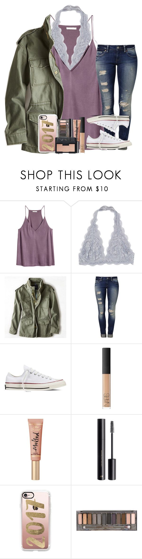 """""""Don't Let The World Decide What's Beautiful"""" by theafergusma ❤ liked on Polyvore featuring American Eagle Outfitters, Mavi, Converse, NARS Cosmetics, H&M, Casetify and Urban Decay"""