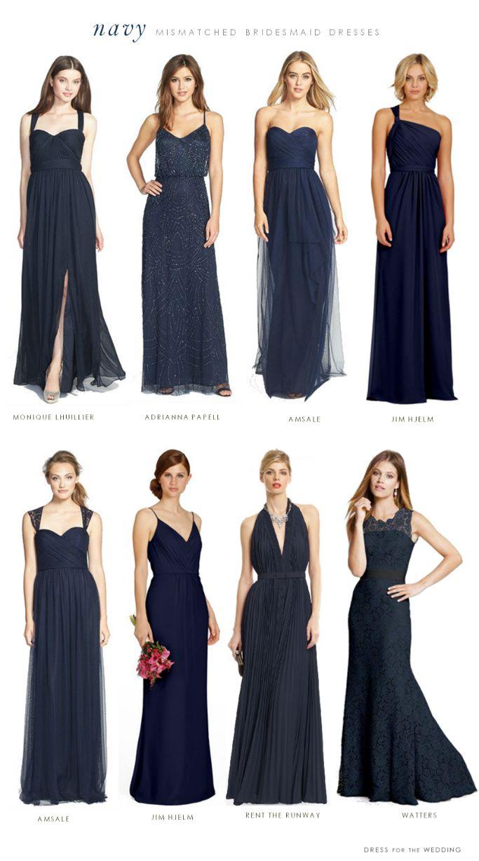 navy blue mismatched bridesmaid dresses