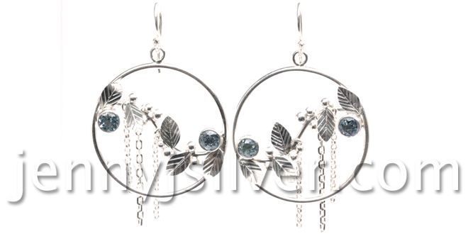 Winterbug – Handmade silver earrings Material : Silver 925, Topaz stone Dimension : diameter: 3.5 cm Weight : 6.0 gram Price : $ 72.50 In Stock : 6 pairs Order it here : http://www.jennyjsilver.com/bracelet-collections