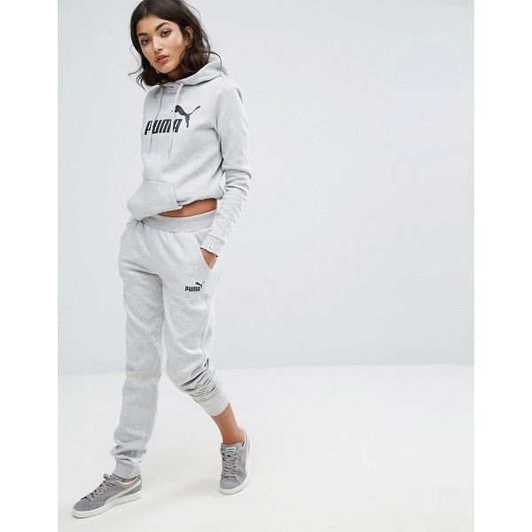 Puma Classic Logo Sweatpants In Gray ($32) ❤ liked on Polyvore featuring activewear, activewear pants, grey, fitted sweatpants, cuff sweat pants, cotton sweat pants, athletic sweatpants and grey sweat pants