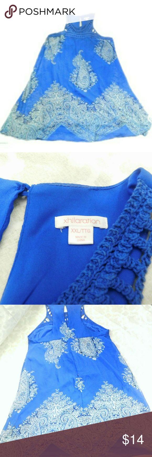 Xhilaration Womens Blue Chiffon Dress size XXL Chiffon and Croquet Blue Paisley Dress XXL Like New Above Knee. 37in in Length Xhilaration Dresses Mini