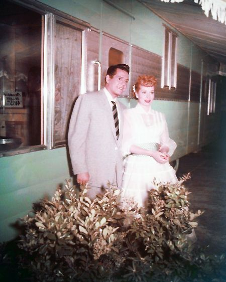 """Lucy and desi on the set of """"The Long, Long Trailer""""."""