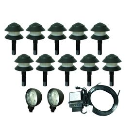Portfolio 12-Light Black Low-Voltage Incandescent Path Lights Landscape Light Kit #104292 @ Lowe's