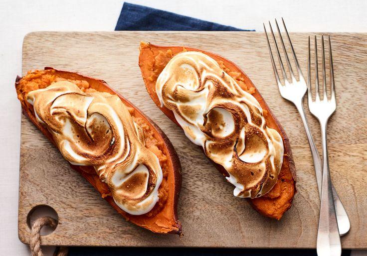 Double Stuffed Baked Sweet Potatoes with Brûléed Marshmallow - Joy of Kosher