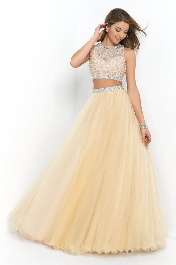2015 Bateau Beaded Bodice A Line/Princess Prom Dress Pick Up Tulle Skirt Floor Length USD 189.99 VUPEYQ64Z4 - VoguePromDressesUK