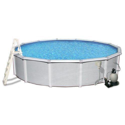 Swimming Pool Above Ground Round Steel Pool Set 18' Top Rail Metal Wall Summer #SwimmingPoolAboveGroundRoundSteelPoolSet