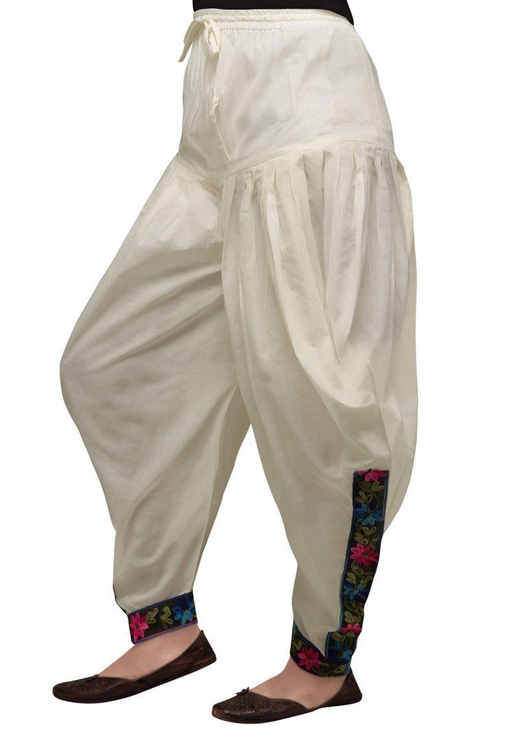 Off White Cotton Readymade Dhoti Pant Online Shopping: BKJ95