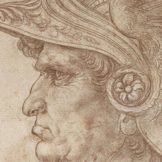 Leonardo da Vinci (1452–1519), Bust of a warrior, detail, Silverpoint, on prepared paper, c. 1475-1480. © The Trustees of the British Museum.
