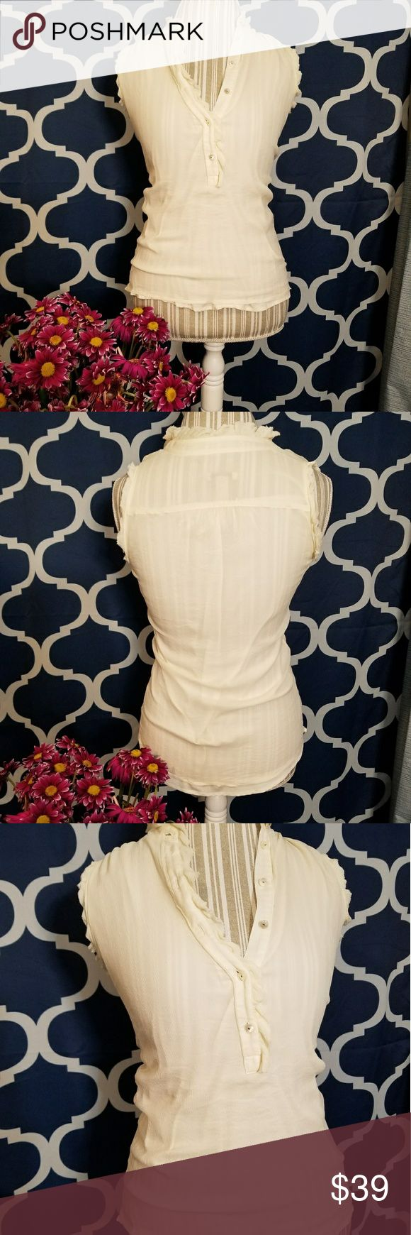🌻🌺🌻NWOT J. CREW 100% SILK BLOUSE!! NWOT J. CREW 100% SILK BLOUSE!! Size zero but fits me and I'm normally a small. Has SOME stretch but not major, my mannequin is a medium with 36.5 bust. Beautiful cream color with ruffle detail and half way button down! Bought at outlet store and never wore. Check out my other items to bundle and save on shipping! Offers accepted. I ship same or next day! J. Crew Tops