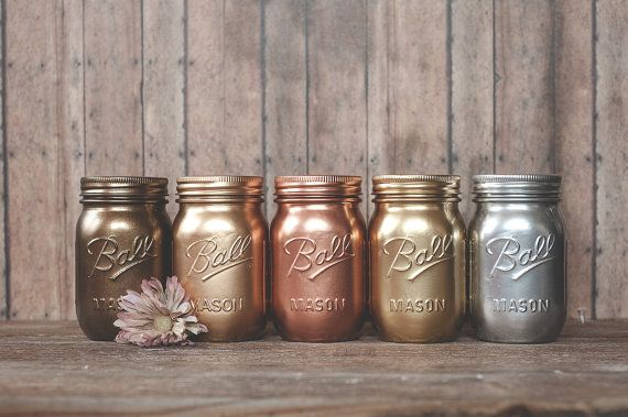 5 Painted mason jars. Bronze rose gold and by StyleJarsandCans, $39.00 Loving all the metallic tones together