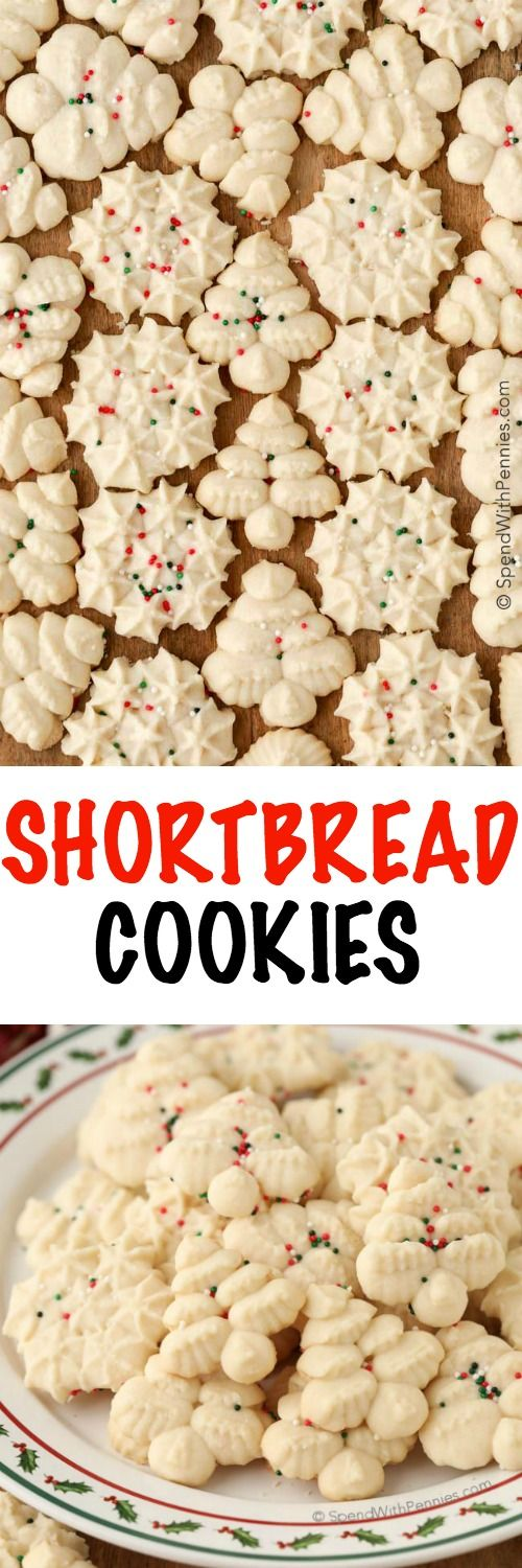 Shortbread cookies are simple and classicbuttery cookies that melt in your mouth. These easy cookies are made using a cookie press to create perfect holiday bites.