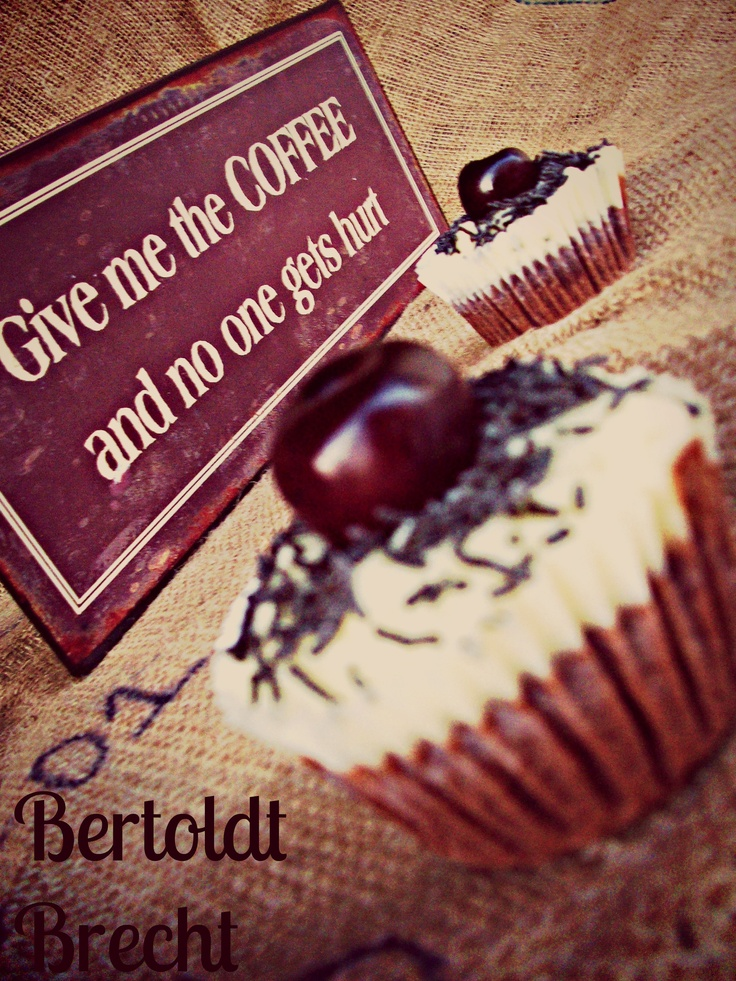 Bertolt Brecht cupcakes (black forest with a shot of espresso) - find them at www.ibakeyourpardon.com