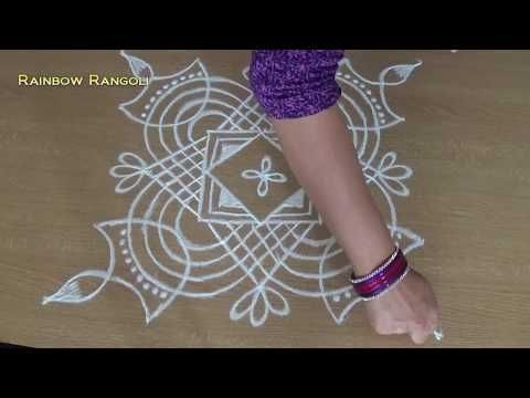 latest Rangoli designs with dots | Creative kolam designs with 5 X 1 dots - YouTube