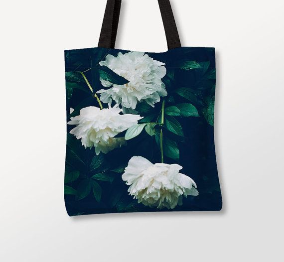 Floral Bag, Peony Flower Art, Photo Printed, White Green Tote