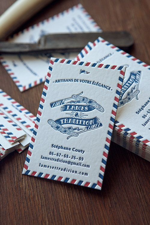 Cartes de visite avec bord tournant 2 couleurs / letterpress business cards in two colors