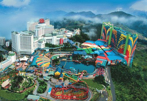 Genting Highlands Resort in Malaysia  It's on top of a huge mountain and you can take a skylift to it and the colors make me want to go!