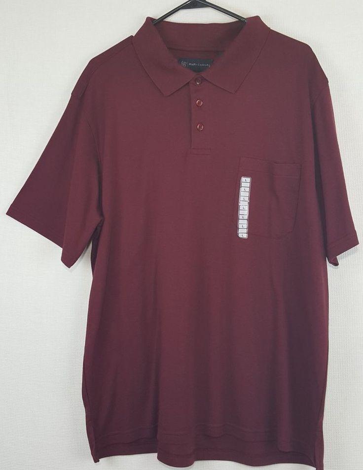 R & R Casual Mens Short Sleeve Polo Shirt, size Large maroon collar Pima Cotton #RRCasual #ShortSleevePoloShirt